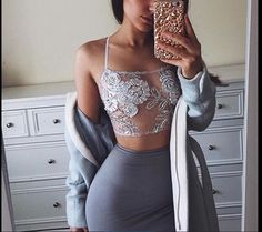top grey sweater bralette bustier pencil skirt grey coat iphone case crop tops crop lace bralette skirt see through matching set pattern floral fashion pretty classy style sexy party clubwear