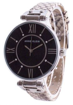 Features: Stainless Steel Case Leather Strap Quartz Movement Mineral Crystal Black Dial Analog Display Solid Case Back Buckle Clasp 30M Water Resistance Approximate Case Diameter: 37mm Approximate Case Thickness: 9mm Anne Klein Watch, Business Wear, Stainless Steel Case, Michael Kors Watch, Omega Watch, Rolex Watches, Swarovski Crystals, Quartz, Display