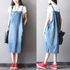 Women Clothes,Casual handmade Dresses,Fashion Linen Plus Maxi Clothing Denim Fashion, Look Fashion, Daily Fashion, Hijab Fashion, Vestidos Jumper, Looks Jeans, Suspender Dress, Apron Dress, Overall Dress