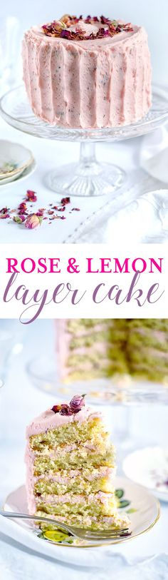 This layer cake can only be described as dreamily romantic! Layers of softest sponge sandwiched with rose and lemon buttercream and decorated with rose petals.