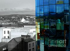 Reflection of Limerick in Savoy's windows by Felikss Veilands Times Square, Reflection, Ireland, Windows, America, Fine Art, Wall Art, Photography, Travel