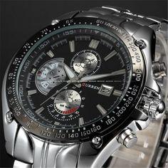CURREN casual quartz watch men large dial waterproof chronograph releather wrist watch relojes 8083