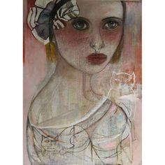 Original Oil Painting 46x64Monique Bavaud title ~ Kitty painted on masonite board mixed medium primarily oil paint