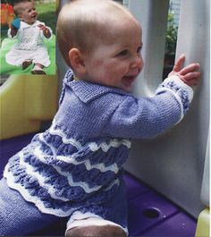 Beautiful knit pattern for baby/childs sweater, pants and hat in 4 sizes including premature baby  .  Fits chest sizes 14 up to 20 inches    Uses 4 ply