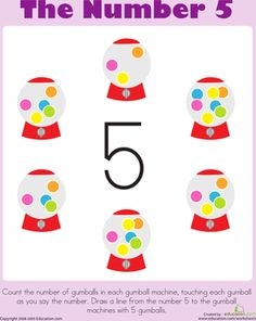 Preschool Counting & Numbers Worksheets: Counting: The Number 5