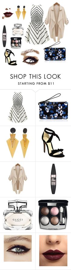 """""""Untitled #135"""" by morgan-vanderydt on Polyvore featuring Halston Heritage, Kate Spade, Alexandre Birman, Maybelline, Gucci, Chanel and LASplash"""