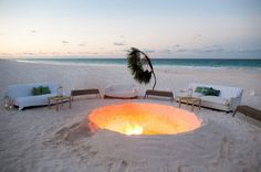 The fire pit next to the beach bar where guests congregated throughout the duration of the party.