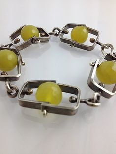 Short Climb Bracelet with Olive Jade: Erica Stankwytch Bailey: Silver & Stone Bracelet | Artful Home