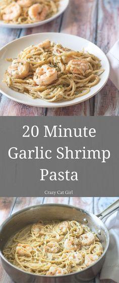 20 Minute Garlic Shrimp Pasta. Makes 2 servings.
