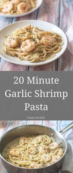 20 Minute Garlic Shrimp Pasta. Makes 2 servings.