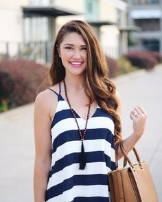 navy and white stripes//  necklace from @cjewels_ tank from @trunkupboutique