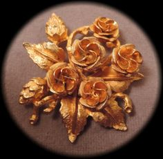 Gold Tone Rose Bouquet Pin c1950 by thejeweledbear on Etsy, $10.00