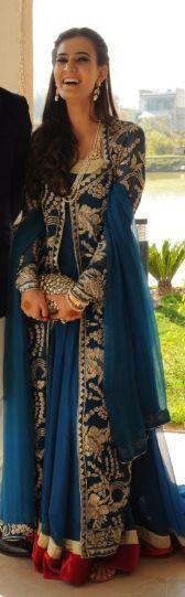 Blue and Gold Anarkali Pakistani Wedding Outfits, Pakistani Dresses, Indian Dresses, Indian Outfits, India Fashion, Asian Fashion, Pretty Outfits, Beautiful Outfits, Bridal Elegance