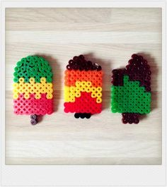Pyssla bead summer ice cream or popsicle charm