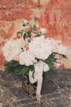 Edgard Maxence (French 1871-1954) Le bouquet de roses blanches c1954
