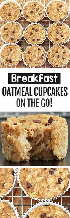 Healthy Oatmeal Breakfast, Breakfast On The Go, Breakfast Dishes, Vegan Oatmeal, Oatmeal Cups, Healthy Oatmeal Cake Recipe, Baked Oatmeal Recipes, Baked Oats, Breakfast Casserole