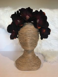 120 best flower crowns images on pinterest art flowers artificial items similar to xl black burgundy magnolia bloom flower headband fascinator race melbourne cup artificial faux fake silk race hair piece floral on etsy mightylinksfo