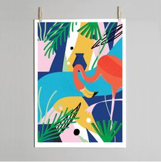 Flamingo print. Designed exclusively for Dowse by Lucy Sherston. Giclée print on archival quality 315 gsm soft cotton art paper. Fits standard A3 and 30 x 40cm frames. Designed and printed by Dowse in Brighton UK. Embossed & signed by Lucy Sherston. Delivered in a protective poster tube.