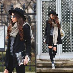 http://lookbook.nu/themysteriousgirl  Sheinside Jeans, Sheinside Scarf, Converse Sneakers