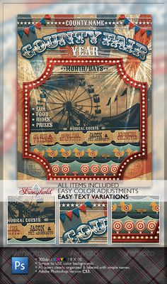 Vintage County Fair Carnival Flyer - GraphicRiver Item for Sale