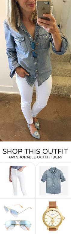 #summer #outfits Guess Who Went All Day Without Spilling Coffee Or Chocolate On Her White Jeans! // Denim Shirt + White Skinny Jeans + Grey Pumps