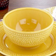 Amber bowl set.  Just in time for spring. Bright and beautiful with an elegant embossed design.  Bring on the fruit!