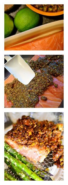 Pistachio Baked Lime Salmon by reluctantentertainer #Salmon #Pistachio #Lime #Healthy