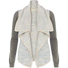 Blue boucle contrast sleeve waterfall jacket - jackets - coats / jackets - women