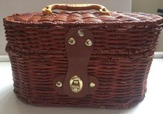 Basket woven brown storage knitting sewing crafts multi purpose box handle