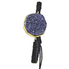 Urban Posh-  octagon Metallic Druzy Macrame Bracelet - Purple)