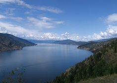 Viewed from Knox Mountain in Kelowna. OK Lake is a very long lake, I think miles long. Waterfront Property For Sale, Long Lake, Vernon, British Columbia, Lakes, Beautiful Pictures, Real Estate, Canada, Vacation