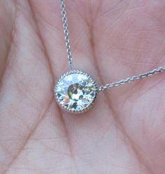 Necklaces Simple Simple and elegant pendant diamond necklace Diamond Necklace Simple, Diamond Solitaire Necklace, Diamond Pendant, Diamond Necklaces, Gold Necklaces, Diamond Jewelry, Modern Jewelry, Fine Jewelry, Jewellery