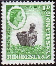 Postage Stamps Rhodesia and Nyasaland 1959 Queen Elizabeth II Tea Picking SG 18a Fine Mint Coil Scott 158a For Sale Take A LOOK