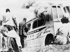 Civil Rights freedom bus after attack