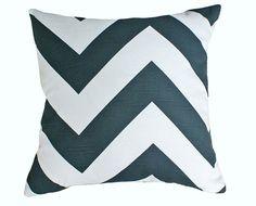 Gray White Zigzag Pillows Chevron Pillow by PillowThrowDecor