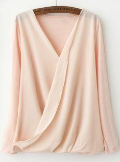 Pink V Neck Long Sleeve Asymmetrical Blouse -SheIn(Sheinside) Mobile Site Fashion Mode, Fashion Wear, Love Fashion, Trendy Fashion, Womens Fashion, Cheap Fashion, Street Fashion, Casual Styles, Style Casual