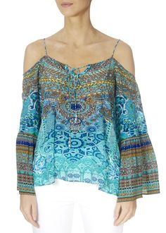 This is the 'Atlantis' Embellished Turquoise Gypsy Top by the ever-stunning brand, Inoa! Feel flawless in gorgeous colours with this free-flowing top with cut-out shoulders. Embellished Top, Loose Tops, Atlantis, Warm Weather, Knitwear, Gypsy, Ladies Tops, Turquoise, Boho