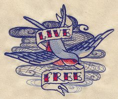 Classic tattoo style  Live Free embroidered by MorningTempest, $15.00