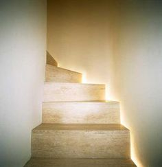 Recessed lighting on stairs