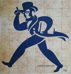"""Washburn University """"Ichabod"""" Logo - Custom Printed on Ceramic Tile Mural. Notice the reproduction of the marble tile design in the background. Interior remodel and renovation project at the University's library, completed August, 2017. Custom Tiles' mural is sealed and washable with typical cleansing chemicals including bleach, which will not harm the high resolution image."""