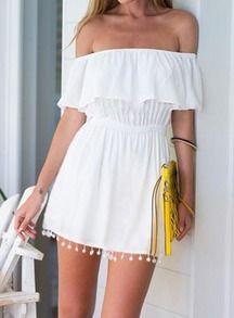White Off the Shoulder Ruffle Tassel Tube Dress
