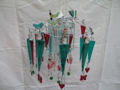 fused glass green and red chandelier