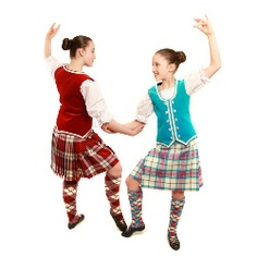 Highland dancing Allendale Dress Blue kilt outfit with turquoise waistcoat (on the right).