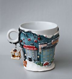 Mug decorated with polymer clay Polymer Clay Christmas, Cute Polymer Clay, Polymer Clay Miniatures, Fimo Clay, Polymer Clay Creations, Polymer Clay Crafts, Ceramic Clay, Polymer Clay Jewelry, Cute Mug