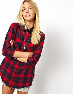 ASOS Shirt in Brushed Check with PU Collar