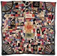 CLEVELAND-HENDRICKS CRAZY QUILT / artist unidentified, United States, 1885–1890, lithographed silk ribbons, silk, and wool with cotton fringe and silk and metallic embroidery, 75 x 77 in., American Folk Art Museum, gift of Margaret Cavigga, 1985.23.3
