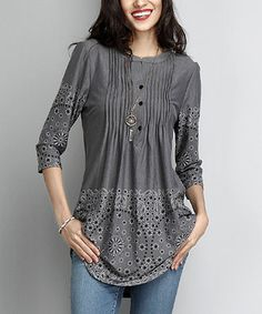 Reborn Collection Charcoal Border Notch Neck Pin-Tuck Tunic