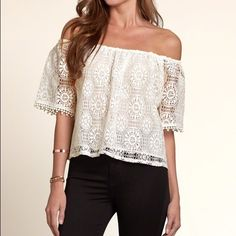 NWT Hollister Lace Off The Shoulder Crop sz S Super cute and trendy off the shoulder look!! All-over white lace!! Elasticated neckline. Cropped. Perfect for the summer and festival season. Hollister Tops Tees - Short Sleeve