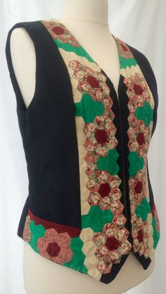"""Ref: 10 short £299.00 Patchwork Handsewn chintz hexagons moire 1986 Please check measurements against a garment you wear. To nearest half-inch: Back neck to hem 22"""", Back underarm to underarm 19"""", Side underarm to hem 11"""" Each front panel side seam to front opening 10"""", Armhole circumference 22.5"""" further information contact Jackie Wills www.jackiewills.com"""
