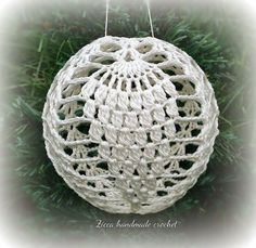 Materials: US 11 or 12 size crochet hook Crochet thread size 10 or 20 balloon textile starch, fabric stiffener Abbreviations: ch- chain t-ch- turning chain sc- single crochetRavelry: Crochet christmas ball ornament diagram pattern by Ilona ZiberLear Crochet Christmas Ornaments, Crochet Snowflakes, Ball Ornaments, Christmas Balls, Christmas Cactus, Crochet Thread Size 10, Crochet Hook Sizes, Single Crochet, Double Crochet